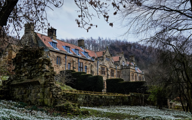 4732x3144 pix. Wallpaper mount grace house, england, house, mount grace priory, snowdrops, city