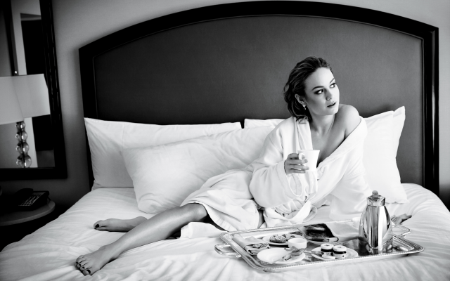 5642x3761 pix. Wallpaper brie larson, actress, monochrome, bed, pillow, house coat, coffee, breakfast