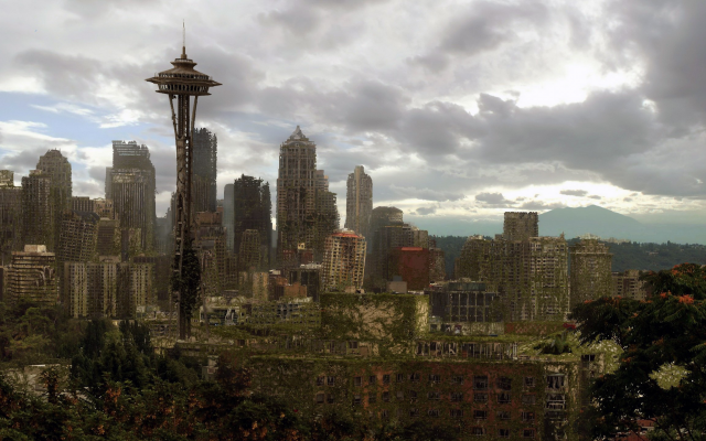 2560x1440 pix. Wallpaper Life After People, city, fallout, Seattle, USA