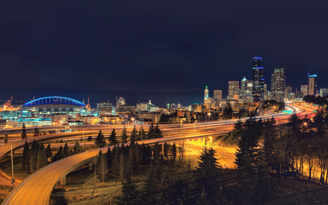 3840x2160 pix. Wallpaper cityscape, city, night, seattle, century link stadium