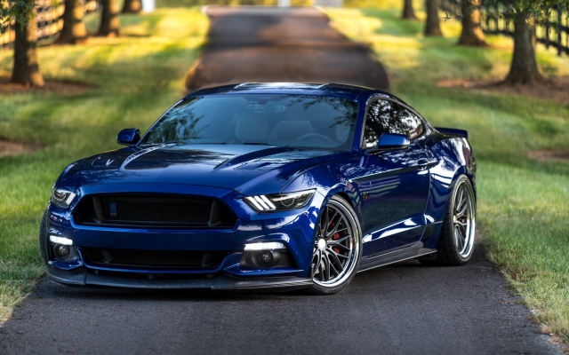 2048x1366 pix. Wallpaper ford, cars, road, blue cars, tuning, ford mustang gt, vossen wheels
