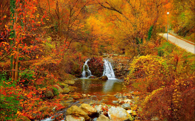 2941x1956 pix. Wallpaper park, autumn, waterfall, stones, river, nature, forest