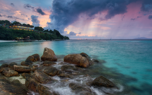 1920x1287 pix. Wallpaper sunset, sea, thailand, stones, tarutao national park, ko lipe, clouds, mountain resort koh lipe