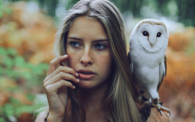 2048x1365 pix. Wallpaper blue eyes, owl, women, blonde, long hair, finger on lips