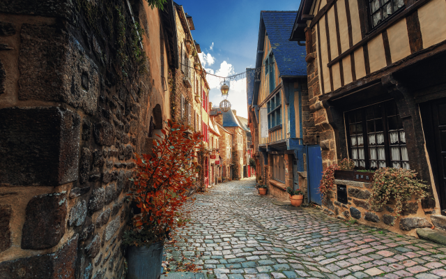 5458x3639 pix. Wallpaper france, brittany, city, street, house, pavement, dinan, cat-darmor