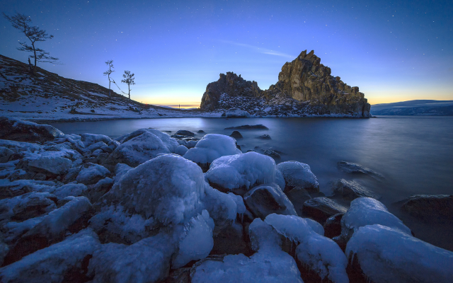 1920x1280 pix. Wallpaper lake, winter, ice, water, rock, stones, morning, baikal, russia, nature