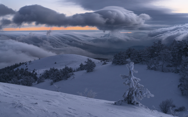 2400x1601 pix. Wallpaper nature, landscape, crimea, hills, winter, snow, demerdzhi, trees, fir, clouds, morning, demerdzhi mountain