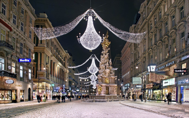 2000x1307 pix. Wallpaper vein, street, christmas, austria, city, holidays