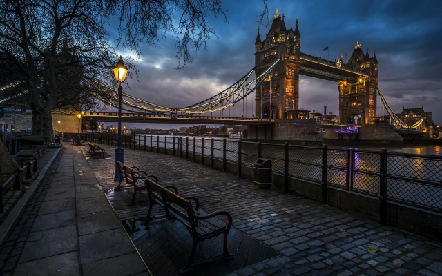 1920x1200 pix. Wallpaper city, London, England, Tower Bridge, bridge, street, street light, night, cobblestones, River Thames