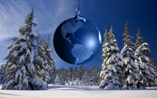 2200x1466 pix. Wallpaper fir, snow, toy, globe, sky, new year, christmas, holidays, nature, winter
