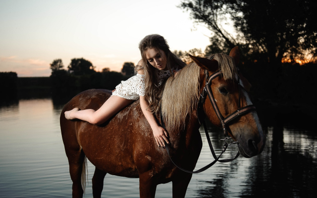 2560x1704 pix. Wallpaper women, girl, outdoors, river, evening, riding a horse, horse