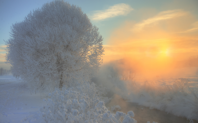 2000x1335 pix. Wallpaper nature, snow, winter, stream, tree, fog, sun