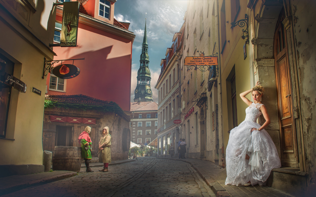 2015x1080 pix. Wallpaper city, street, houses, tower, people, girl, bride, women, riga, latvia