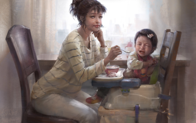 1920x1800 pix. Wallpaper women, chair, children, breakfast, drawing, art