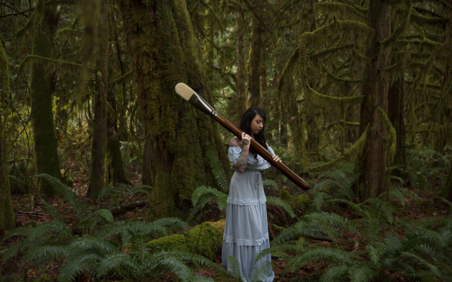 2048x1365 pix. Wallpaper girl, forest, brush, women, white dress, photo, creative