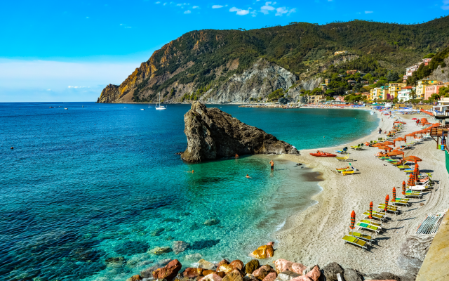 6000x4000 pix. Wallpaper monterosso al mare, la spezia, liguria, cinque terre, sea, town, beach, rock, hill, resort, nature, italy