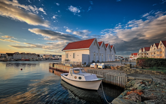 1920x1200 pix. Wallpaper boat, pier, house, bay, sky, norway, nature, akrehamn