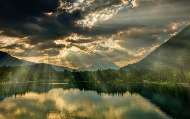 4255x2393 pix. Wallpaper rays of light, lake, nature, clouds, nature, hintersee, bavaria, germany