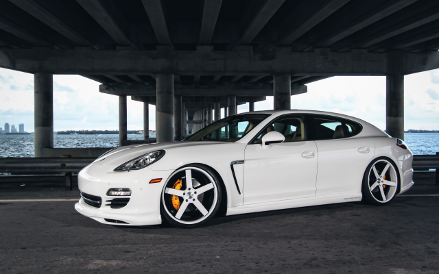 4664x3109 pix. Wallpaper porsche panamera, white car, porsche, bridge, cars