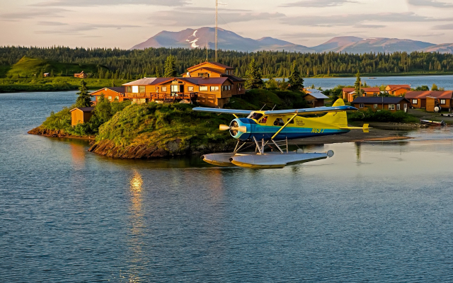 1920x1200 pix. Wallpaper bristol bay, alaska, sportfishing lodge, airplane, flight, nature, island, fishing lodge, seaplane