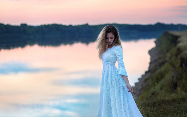 2560x1825 pix. Wallpaper women, river, dress, white dress, sunset