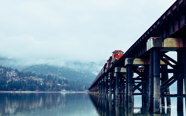 3984x2656 pix. Wallpaper train, freight train, locomotive, bridge, nature, lake, sandpoint, idaho, usa