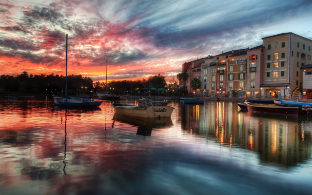 1920x1200 pix. Wallpaper Portofino, Italy, boat, sea, water, reflection, sunset, clouds, building, city
