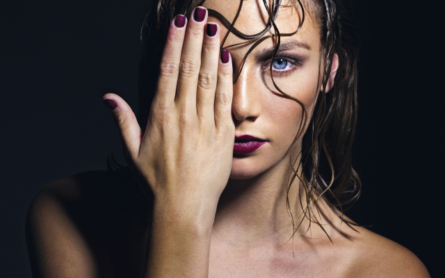 1920x1200 pix. Wallpaper women, face, painted nails, hand, portrait