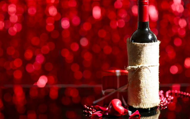 5760x3840 pix. Wallpaper valentines day, holidays, bottle, wine, box, gift, heart