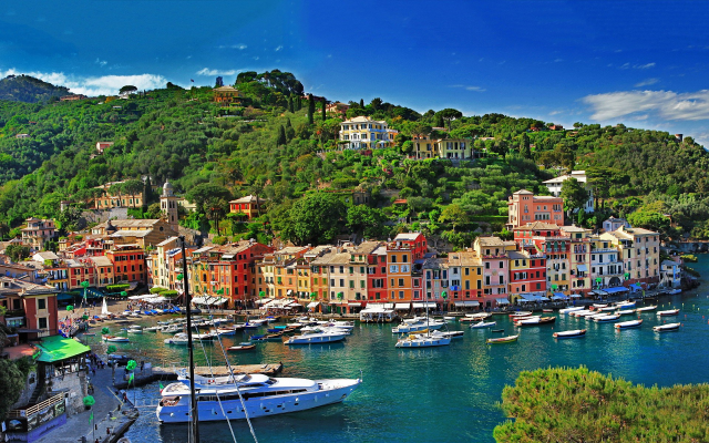 1920x1200 pix. Wallpaper city, cityscape, landscape, sea, boat, building, forest, bay, Portofino, Italy, colorful