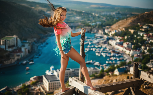 2560x1703 pix. Wallpaper women, girl, long hair, wind, height, landscape, photographer, legs, sexy legs, smiling, crimea