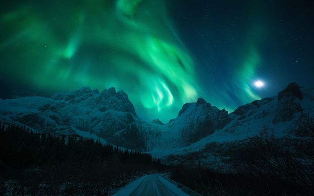 2499x1668 pix. Wallpaper light, snow, mountains, winter, northern lights, road, night, moon, nature