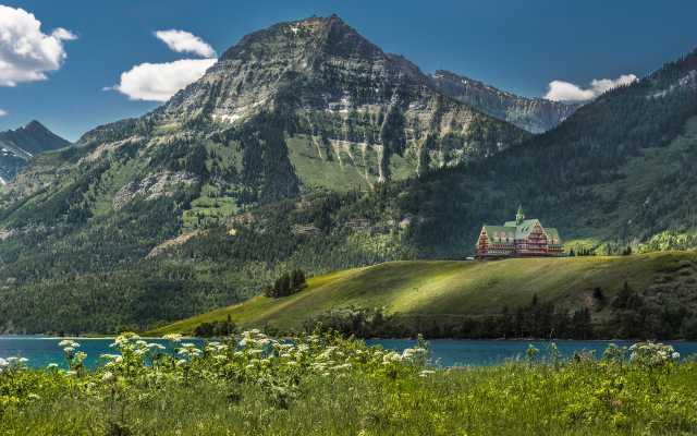 3840x2400 pix. Wallpaper waterton lake, prince of wales hotel, alberta, canada, british columbia, nature, mountains