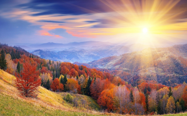 1920x1080 pix. Wallpaper nature, landscape, hill, forest, autumn, dawn, sun rays, sun