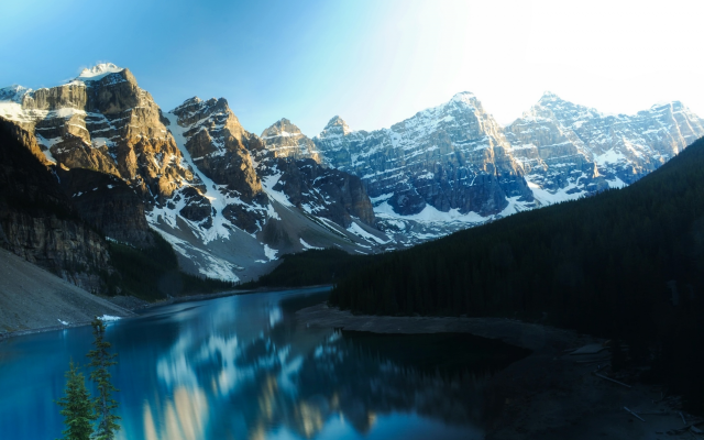 2200x1461 pix. Wallpaper moraine lake, canada, lake, mountains, snow, forest, nature, landscape