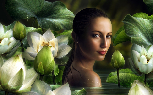 3804x2160 pix. Wallpaper girl, fantasy, lotus, flower, women, girl, wet hair, art