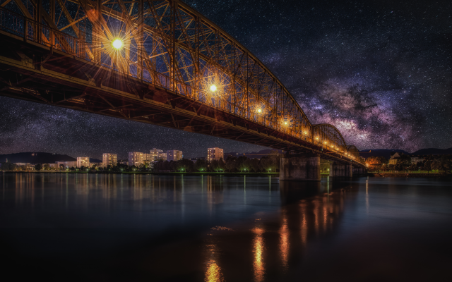 4873x3253 pix. Wallpaper starry sky, bridge, railway, night, hdr, city, nature, milky way