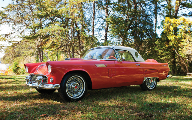4096x2731 pix. Wallpaper 1956 ford thunderbird, retro, cars, ford thunderbird, ford, red car