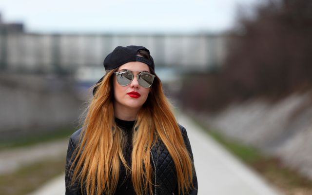 2048x1365 pix. Wallpaper women, model, outdoors, baseball cap, sunglasses, jacket, red lipstick