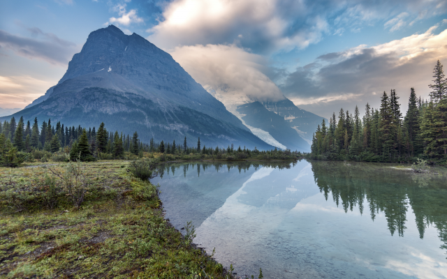 6016x4016 pix. Wallpaper lake, mountains, sky, clouds, forest, trees, reflection, nature, landscape