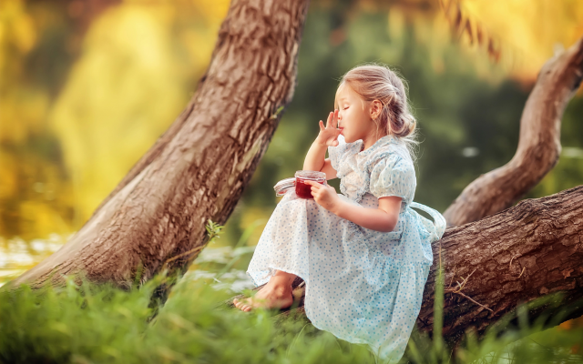 2044x1364 pix. Wallpaper child, girl, dress, barefoot, barefoot, nature, trees, trunks, summer, jam