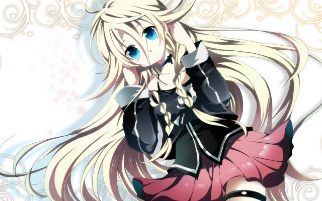 2240x1259 pix. Wallpaper anime, vocaloid, skirt, girl, blonde, hairs