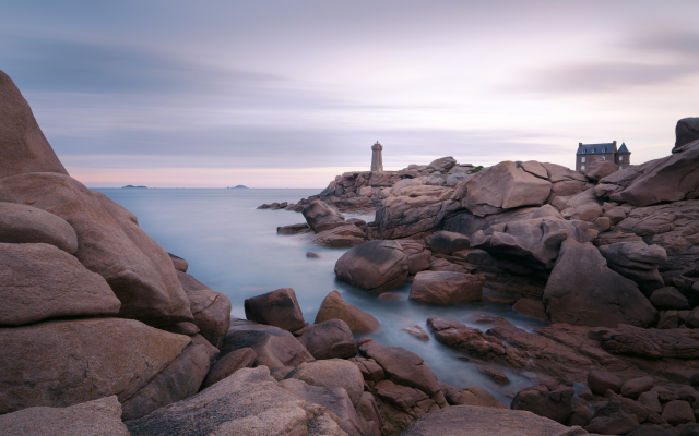 1920x1080 pix. Wallpaper ploumanach lighthouse, lighthouse, stones, rocks, sea, water, nature