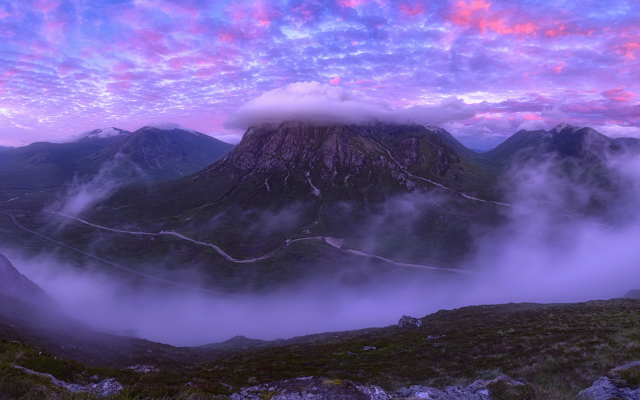 1920x1080 pix. Wallpaper mountains, clouds, peak, scotland, purple sky, nature