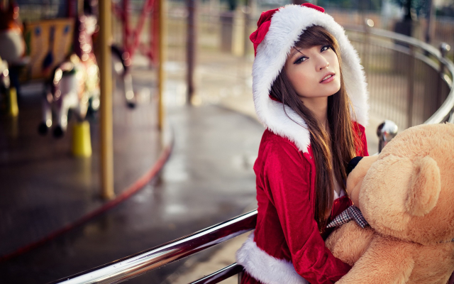 1920x1200 pix. Wallpaper Asian, teddy bears, Santa, costume, brunette, dark eyes, looking at viewer, open mouth, women outdoo