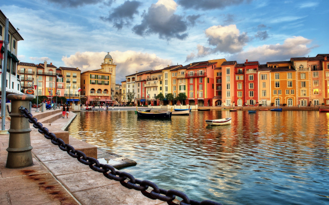 1920x1200 pix. Wallpaper Portofino, Italy, building, city, boat, chains, sea, clouds, water, reflection