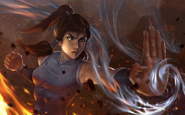 1920x1080 pix. Wallpaper Korra, The Legend of Korra, water, fire, women, artwork, digital art