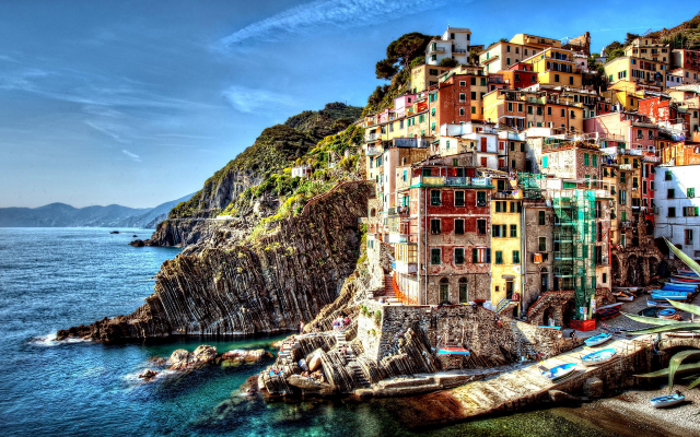 1920x1200 pix. Wallpaper Cinque Terre, Italy, sea, city, dock, boat, building, colorful, hill, cityscape, cliff