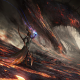 fantasy art, dragon, lava, Mage, magic wallpaper