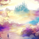 artwork, fantasy art, castle, clouds wallpaper